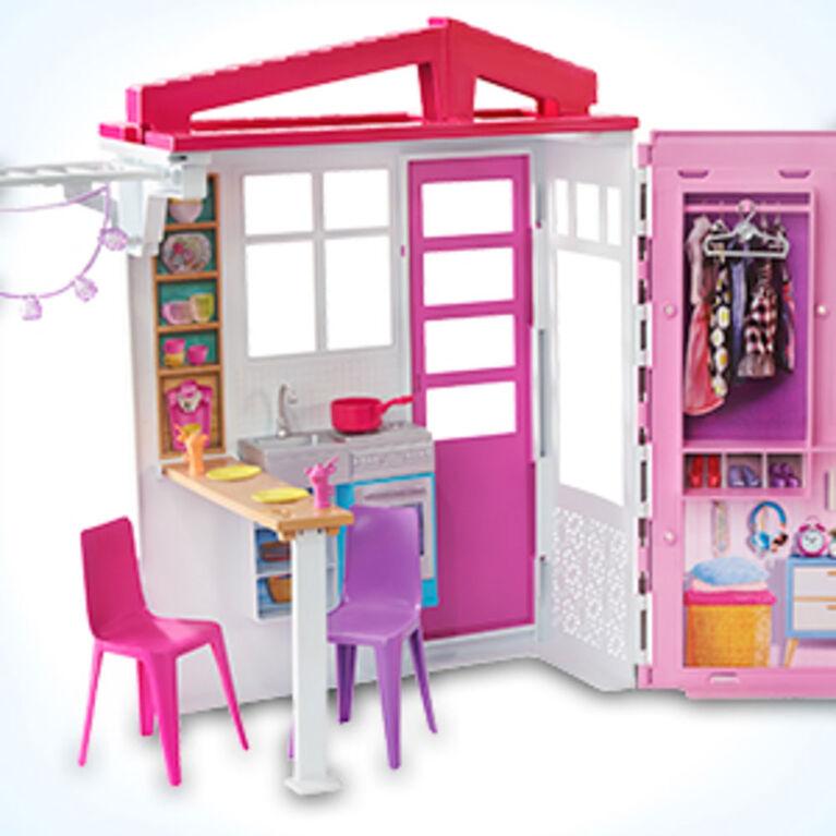 Poupée et Maison de poupée Barbie, coffret de jeu à 1 étage portatif avec piscine