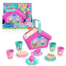 Peppa Pig Let's Have a Picnic Set, Travel Toy with Handle Includes 4 Settings and Play Food, 15-Pieces