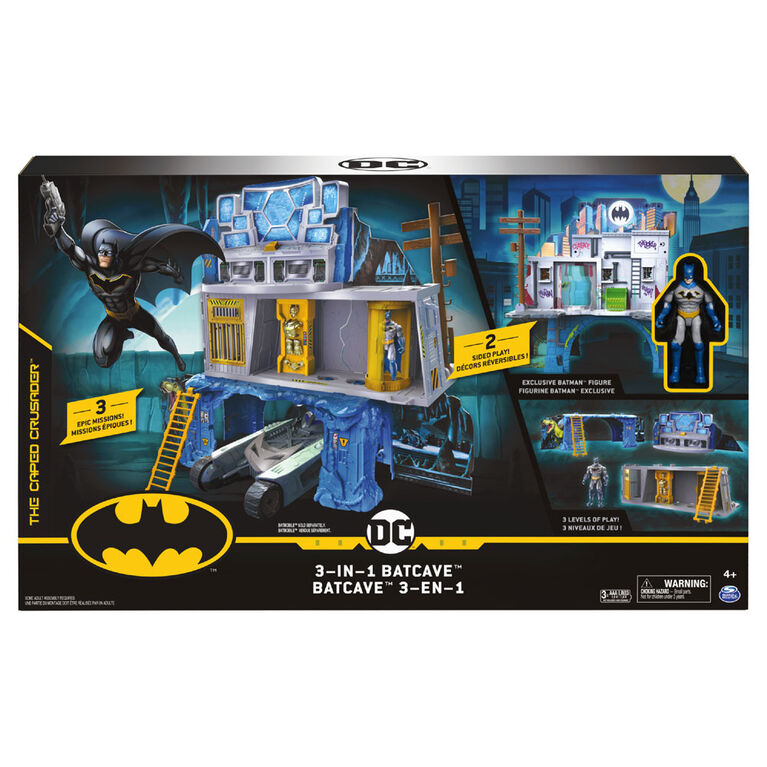 Batman 3-in-1 Batcave Playset with Exclusive 4-inch Batman Action Figure and Battle Armor