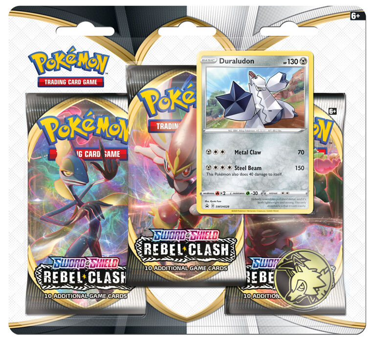 "Pokemon Sword & Shield 2 ""Rebel Clash"" 3-Pack Blister"
