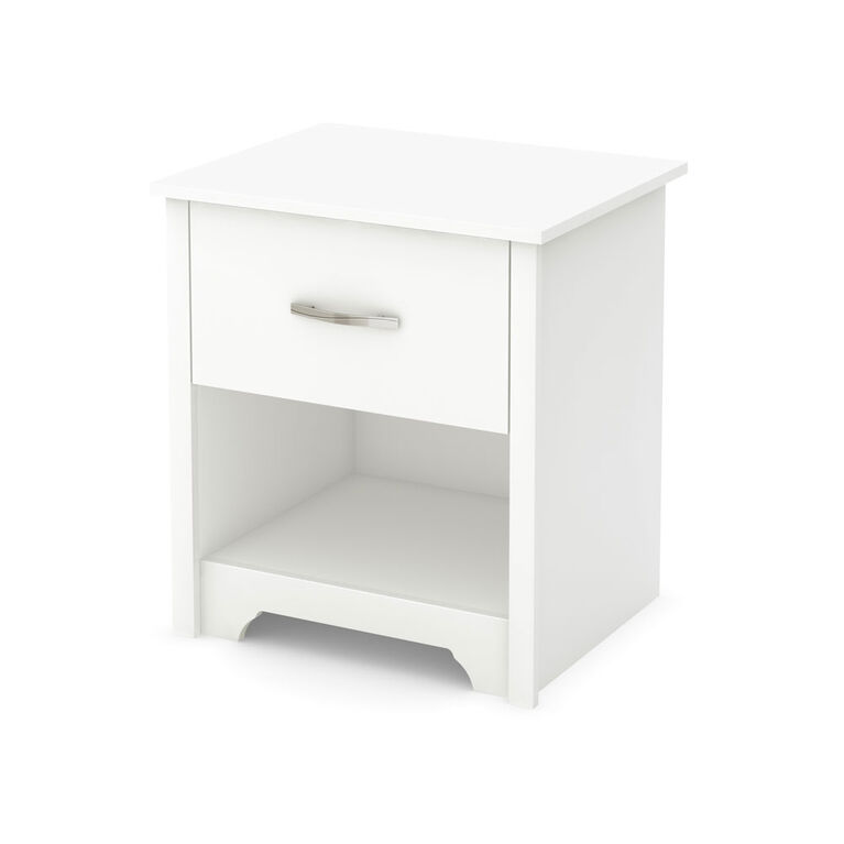 Fusion 1-Drawer Nightstand - End Table with Storage- Pure White
