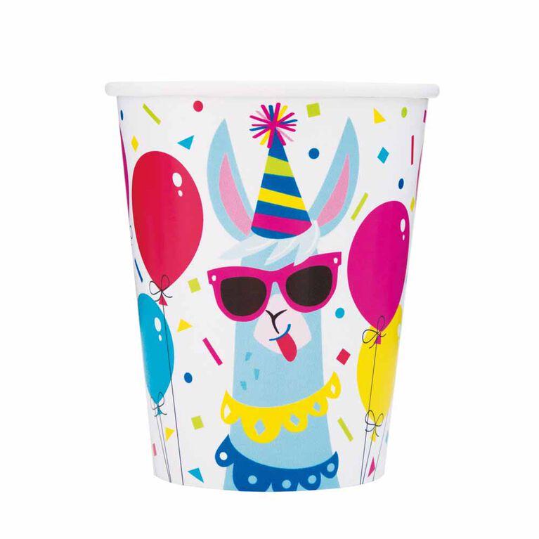 Llama Birthday 9oz Paper Cups, 8 pieces