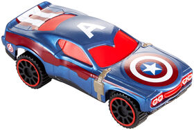 Hot Wheels - Marvel - Véhicule Flip Fighters - Captain America - Les styles peuvent varier