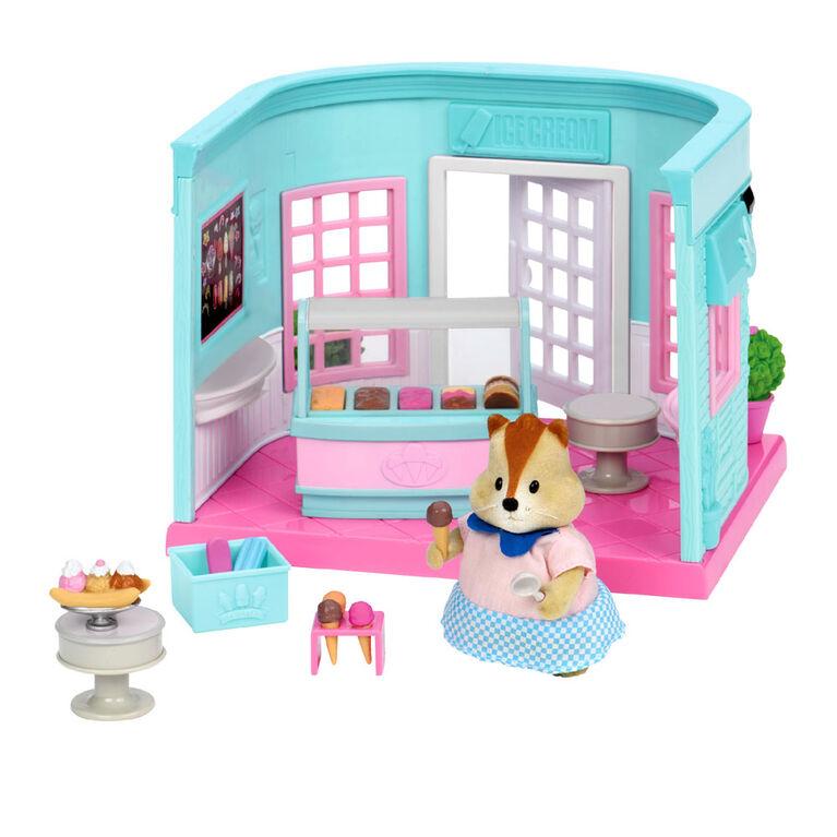 Scoops & Sprinkles Ice Cream Shop, Li'l Woodzeez, Bar laitier miniature - les motifs peuvent varier