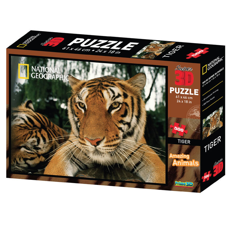 National Geographic Tiger 500 Piece Super 3D Puzzle
