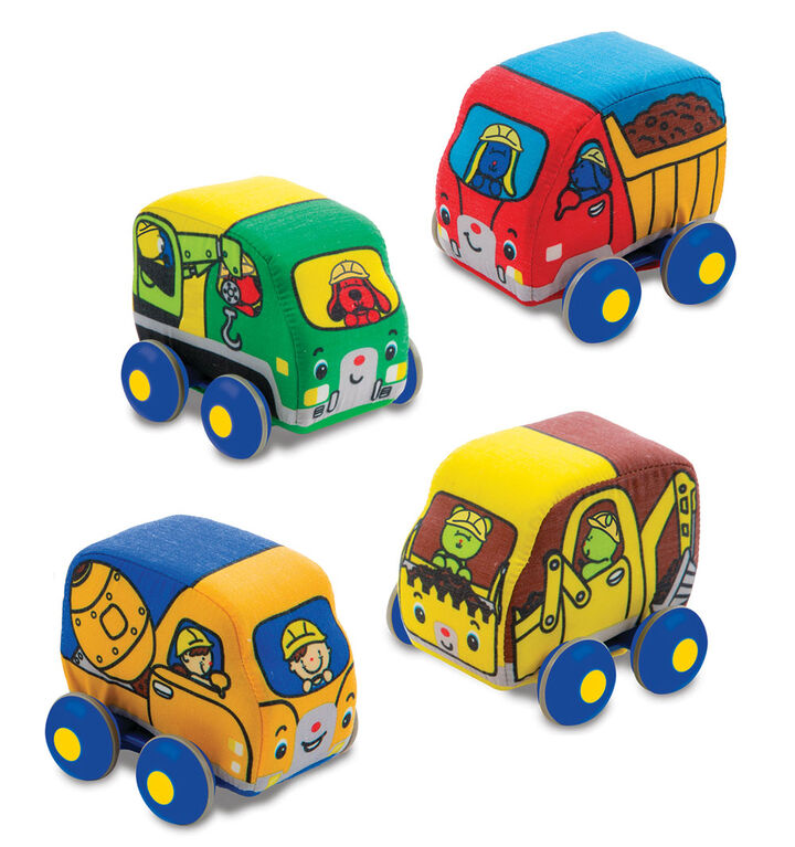 Melissa & Doug Pull-Back Construction Vehicles - Soft Baby Toy Play Set of 4 Vehicles - styles may vary
