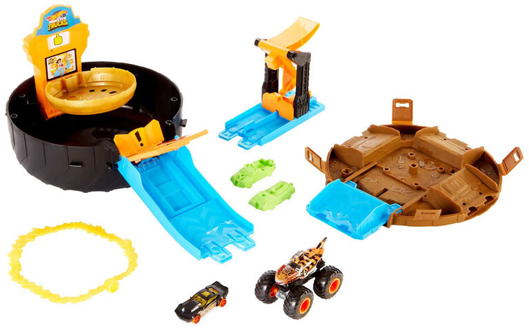 Hot Wheels - Monster Trucks - Coffret de Jeu Pneu à Cascade