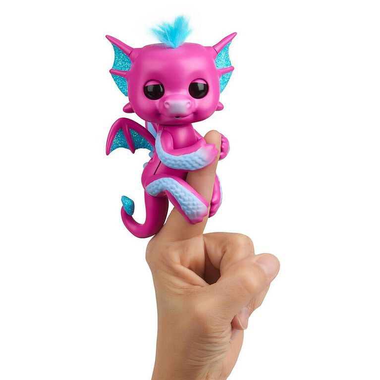 Fingerlings - Glitter Dragon - Sandy (Pink with Blue) - Interactive Baby Collectible Pet