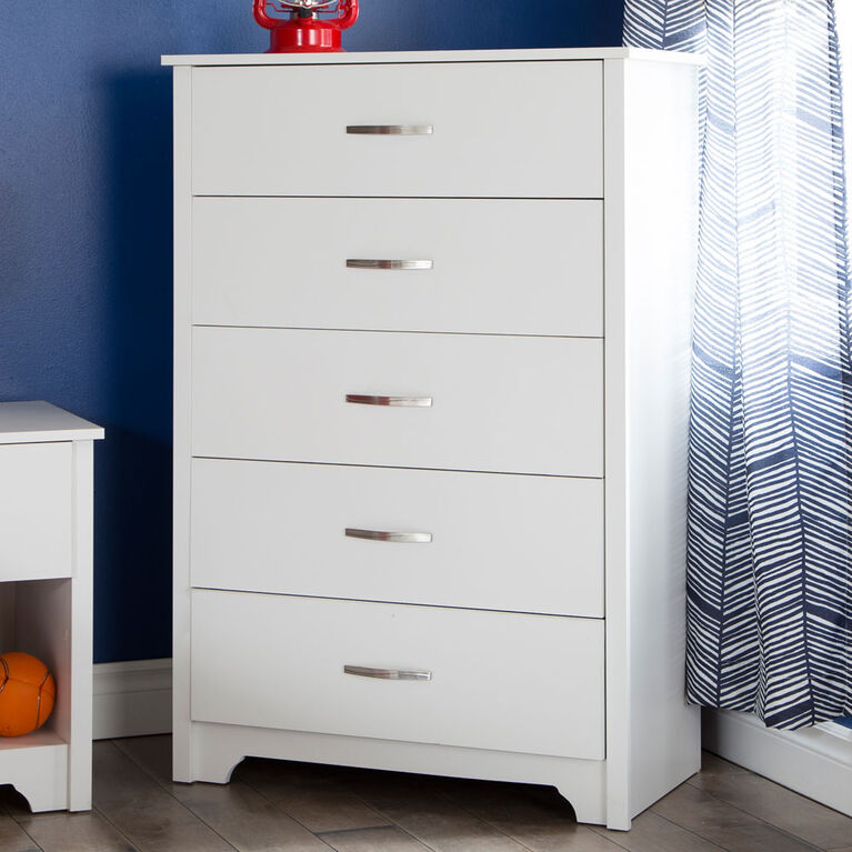 Fusion Commode 5 tiroirs- Blanc solide
