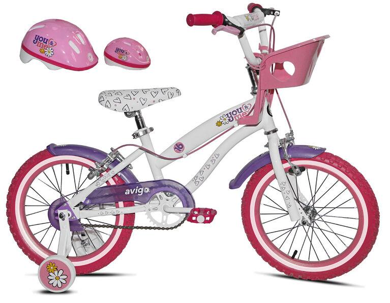 Avigo You and Me avec casque et porte-poupée - Vélo 16 po