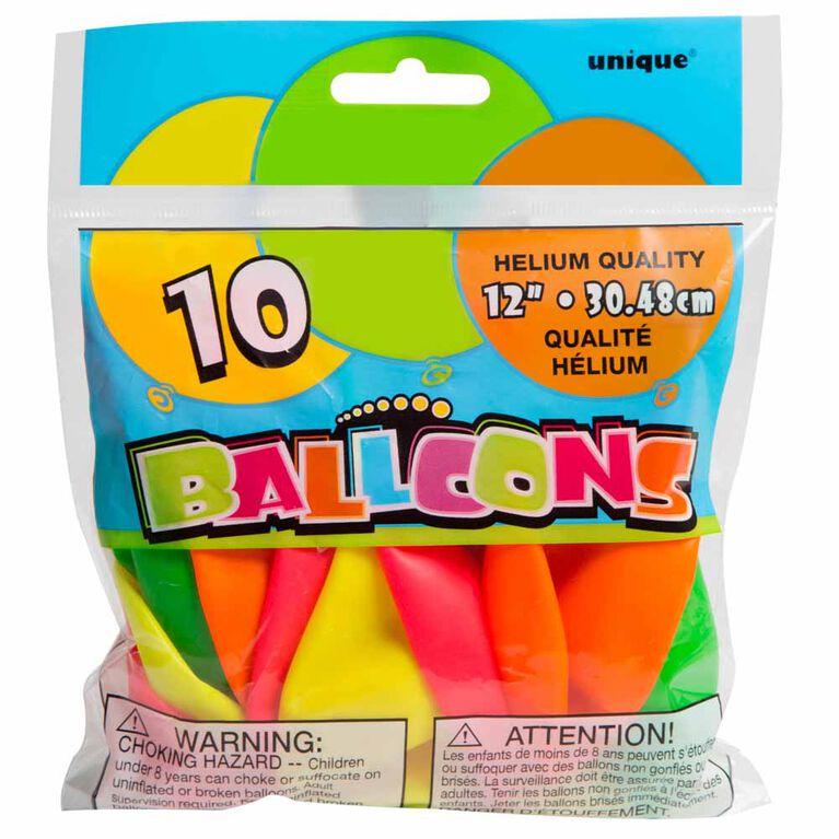 10 Ballons 12 Po - Couleurs Néon