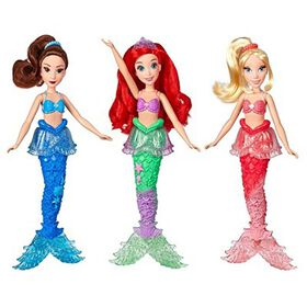 Disney Princess Ariel and Sisters Fashion Dolls, 3 Pack of Mermaid Dolls