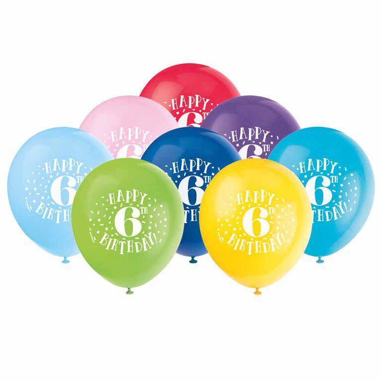 "Fun ""Happy 6th Bday"" 12"" Latex , 8 pieces - English Edition"