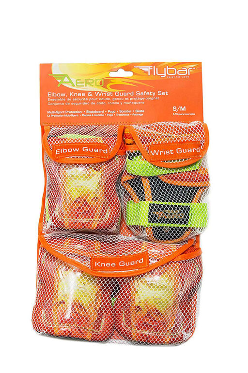 Flybar AERO Elbow Knee and Wrist Guard Junior Safety Set for Ages 5 to 10 (Orange)