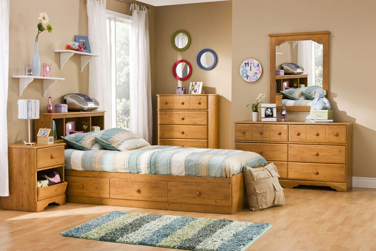 Little Treasures Mate's Platform Storage Bed with 3 Drawers- Country Pine