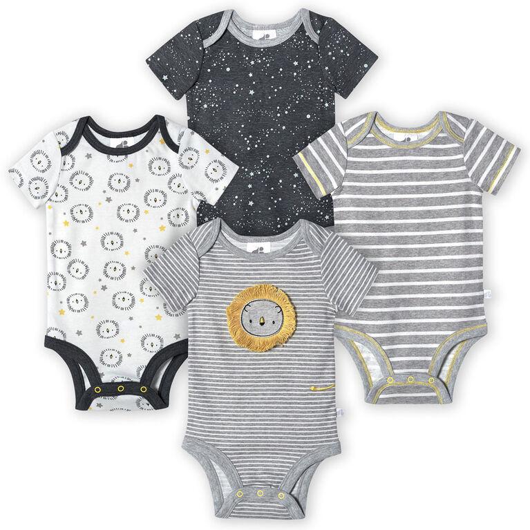 Just Born Baby Boys 4-Pack Organic Short Sleeve Onesies Bodysuits - Lil Lion 3-6 Months