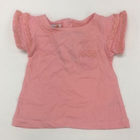 Coyote and Co. Salmon Pink Ruffle Sleeve Tee - size 0-3 months