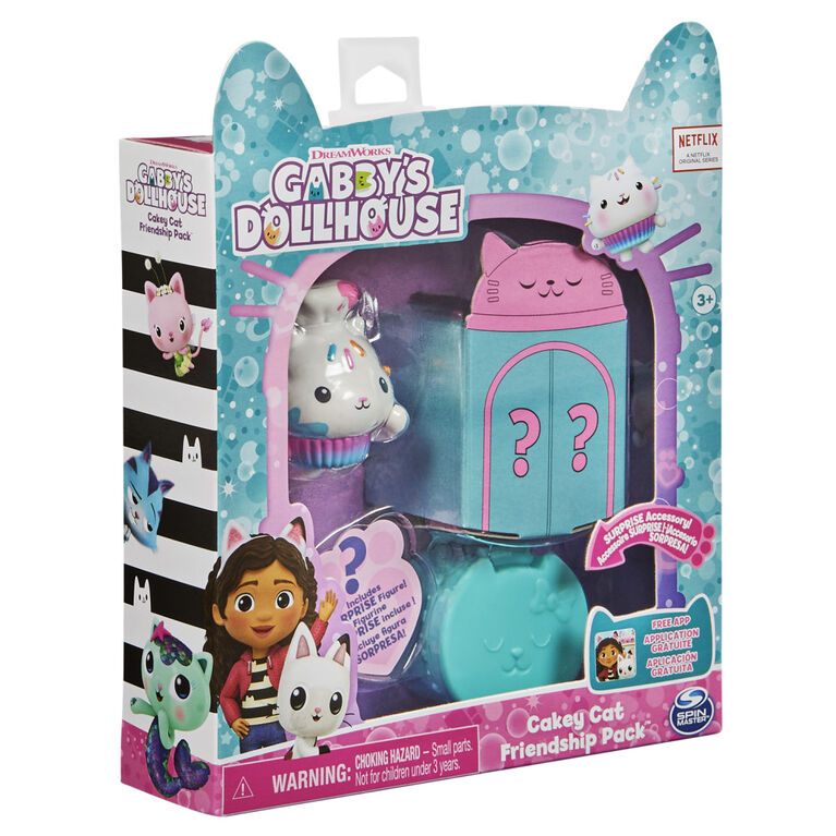 DreamWorks, Gabby's Dollhouse, Friendship Pack avec Cakey Cat, figurine et accessoire surprises