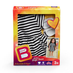 B Friends Breton Striped Dress Fashion Outfit for 18-inch Doll