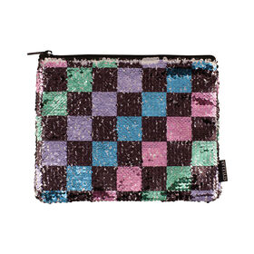 Fashion Angels - Style.Lab Checkerboard Magic Sequin Pouch, Cosmetic Bag, Pencil Pouch