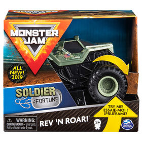 Monster Jam, Monster truck authentique Soldier Fortune Rev 'N Roar à l'échelle 1:43.