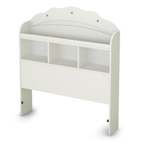 Tiara Bookcase Headboard with Storage- Pure White