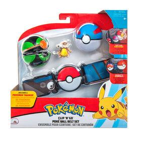 Pokémon - Ensemble de ceinture Clip 'N Go pour ballon Poké - Super Ball (Great Ball), Sombre Ball (Dusk Ball) et Osselait (Cubone)
