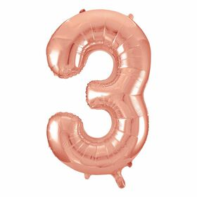 """Rose Gold Number 3 Shaped Foil Blln 34"""""""