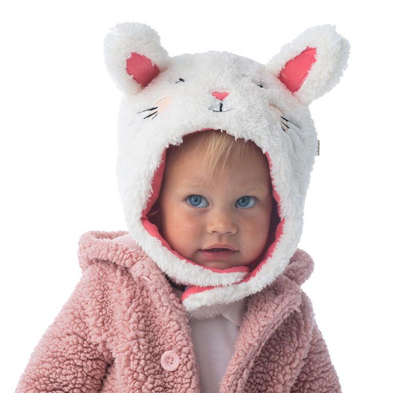 FlapJackKids - Baby, Toddler, Kids, Girls Reversible Sherpa Fleece Hat - Double Layered - Bunny/Deer - Large 4-6 years