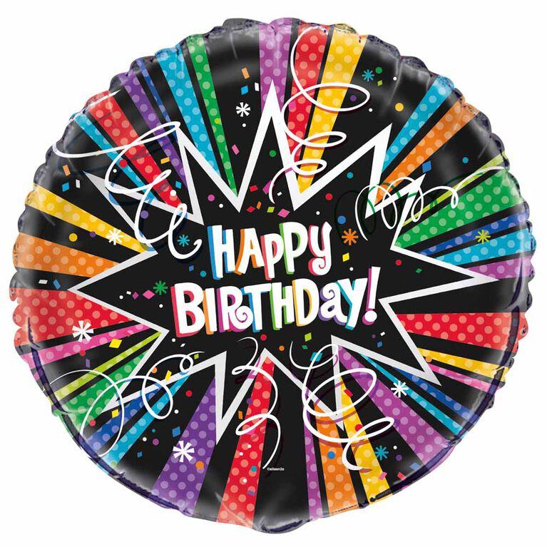 "Ballon aluminium rond, 18 "" - Rainbow Starburst Birthday - Édition anglaise"