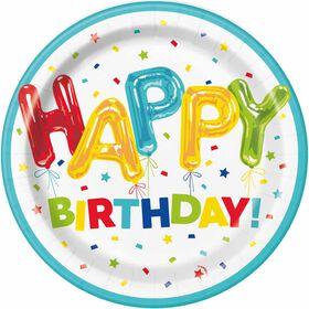 "Balloon Birthday  9""  Plates, 8 pieces - English Edition"