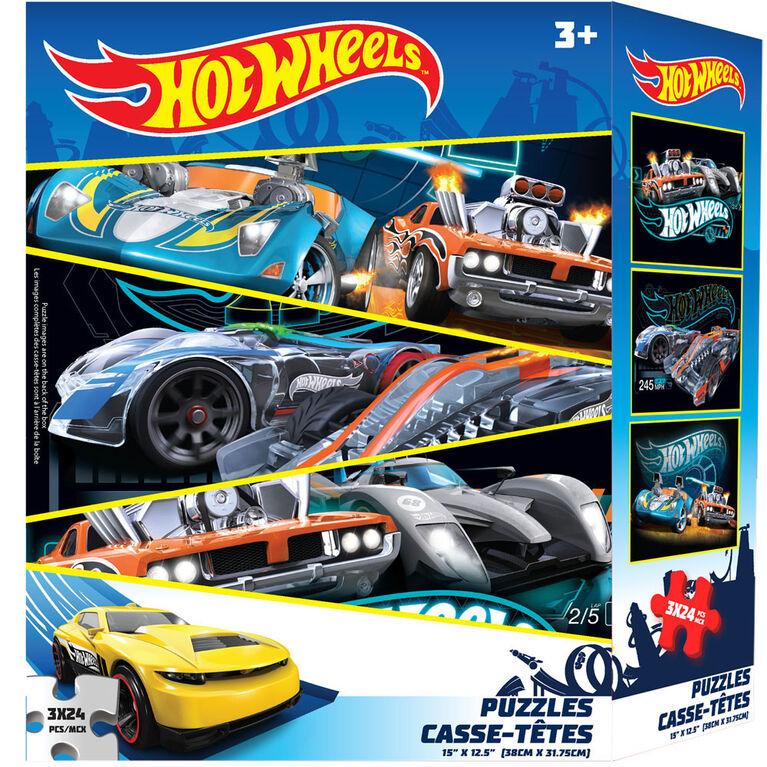 Hot Wheels 3-Pack Puzzle (3 X 24Pcs)