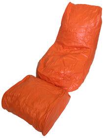 Boscoman - Vinyl Bean Bag Lounger w/Footrest - Orange