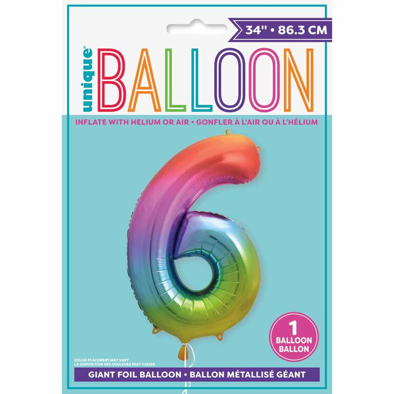 """Rainbow Number 6 Shaped Foil Balloon 34"""""""