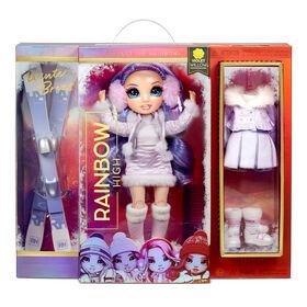 Poupée Rainbow High Winter Break Violet Willow - Poupée-mannequin Winter Break violette et jouet avec 2 tenues complètes de poupée, paire de skis et accessoires d'hiver pour la poupée
