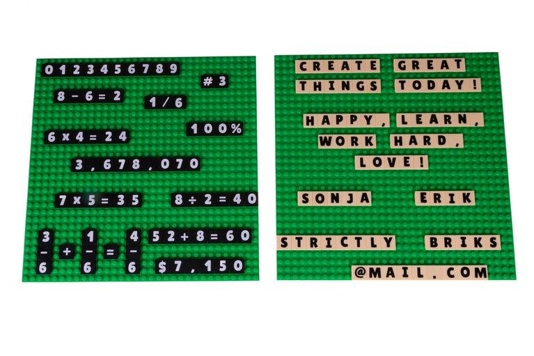 Strictly Briks - AlphaBriks and MathBriks - 1 Baseplate - 100 Letter Tiles & 100 Number Tiles