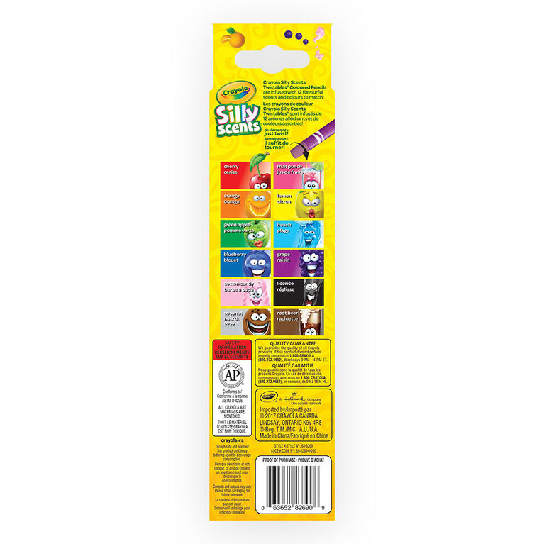 Crayola - Silly Scents Twistables Coloured Pencils, 12 ct
