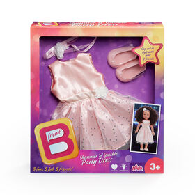 B Friends Shimmer n Sparkle Party Dress Deluxe Fashion Outfit for 18-inch Doll