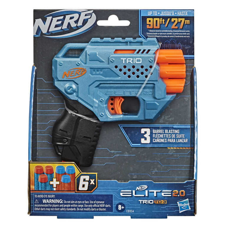 Nerf Elite 2.0 Trio SD-3 Blaster -- Includes 6 Official Nerf Darts -- 3-Barrel Blasting -- Tactical Rail for Customizing Capability