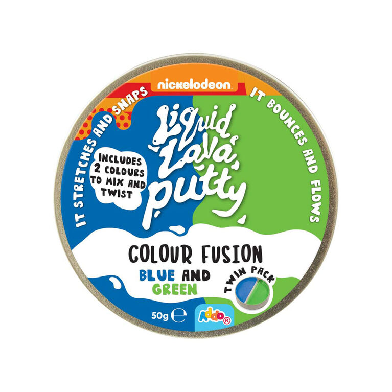 Nickelodeon Liquid Lava Putty Colour Fusion Blue and Green - Notre exclusivité