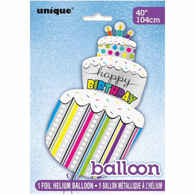"Polka Dots Bday Cake Giant Foil 40"" - English Edition"