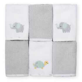 Koala Baby 6-Pack Washcloths, Grey Elephant