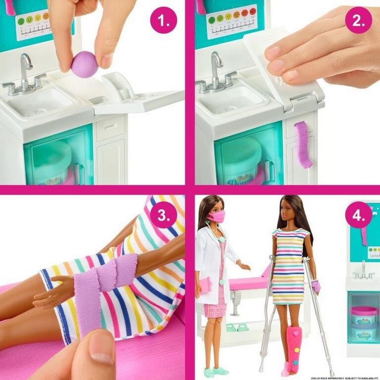 Barbie Fast Cast Clinic Playset with Brunette Barbie Doctor Doll