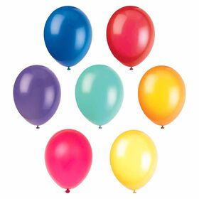 "12"" Latex Balloons, 10 pieces - Assorted Colours"