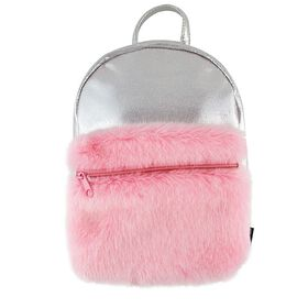 S. Lab Silver Shimme Mini Backpack+Faux Fur Pocket