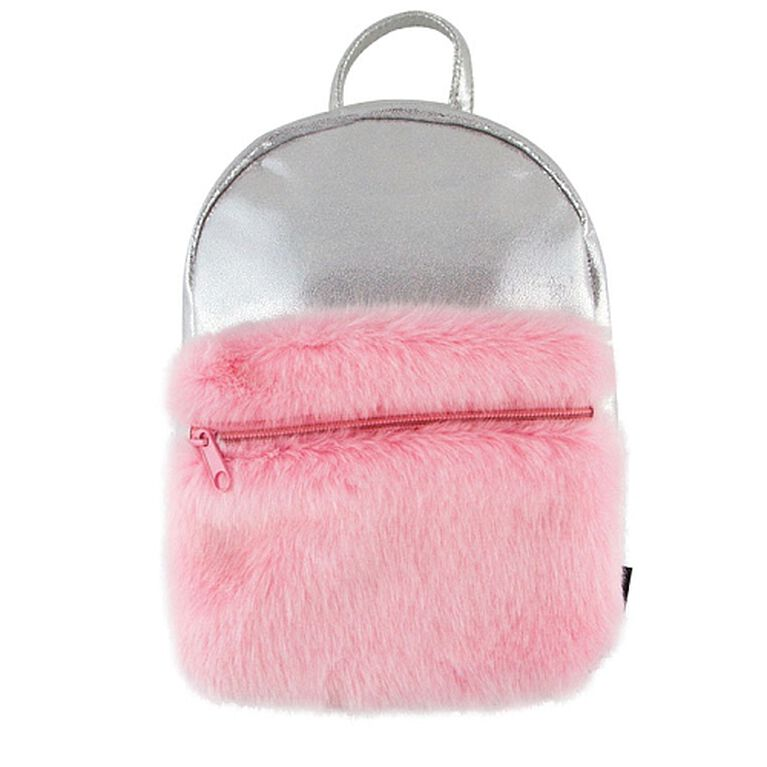 S. Lab Silver Shimme Mini Backpack+Faux Fur Pocket