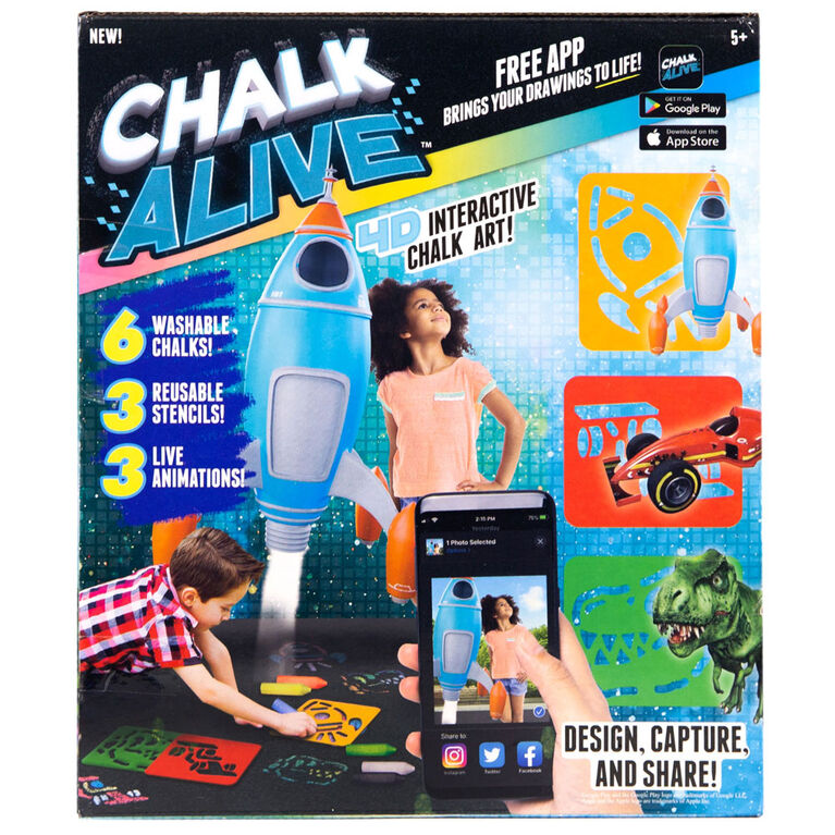 Chalk Alive Dino, Rocket, Racecar