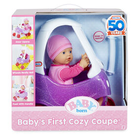 BABY born Baby's First Cozy Coupe with Soft-Bodied Baby Doll