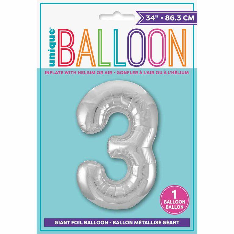 """Ballon en aluminium argenté en forme de nombre 34"""" - 3"""