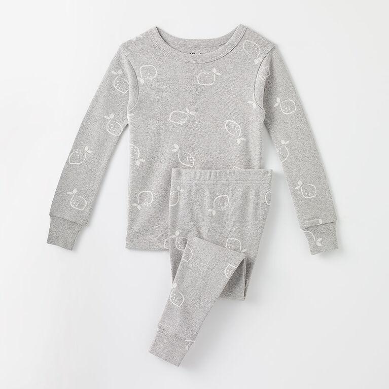 6 ans pyjama deux pièces en coton biologique - citrons/gris chiné